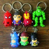 Wholesale Cartoon Super hero keychains toys the avenger Iron man spider man Silicone Pendants Keychains
