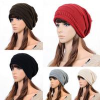 Wholesale Brand New Unisex Acrylic Crochet Knitting Hat Soft Warm Winter Ski Slouch Hip hop Hat Oversize Baggy Skull Cap Colors Choose DJK
