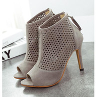 ankle booties for women - Black Grey High Heel Hollow Peep Toe Pumps Spring Fall Fashion Ankle Booties For Women size to