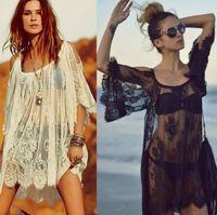 Wholesale 2015 fashion swimwear sexy crochet white black lace beach dress women cover ups summer bikini cover up beachwear