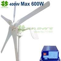 Wholesale 400w wind turbine Max power w blades small wind mill low start up wind generator w wind solar hybrid controller
