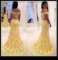 Wholesale Real Photos Yellow Lace Party Dresses Evening Cap Sleeve A Line Sweep Train Sheer Back Prom Formal Pageant Gown Plus Size vestidos