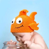 Boy baby fish costumes - 3pcs New Baby Newborn Nursling Photo Photography Props Costume Handmade Crochet Knitted Hat Orange Animal Fish Beanie Caps Set XDT22