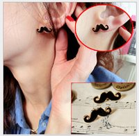Cheap Good quality fashion funny personalized mustache stud earrings Chinese cheap jewelry 500pair
