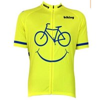 Cheap Cartoon Biking Smiley Yellow Cycling Jerseys Shirts Short Sleeves High Quality Cheap Bicycle Clothing Breathable Durable Cycling Jersey