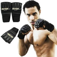 Wholesale 1 Pair Fashion Sports PU Leather Gym Muay Half Mitts Mitten MMA Training Boxing Gloves Punching Bag Sparring