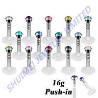 Wholesale CZ Crystal Bioplast Flexible Labret Lip Piercing Stud Ring Jewelry g