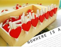 Wholesale 30Pcs Red Heart Wooden Mini Clip mm Photo Paper Clips Wood Pegs Kids Crafts Party