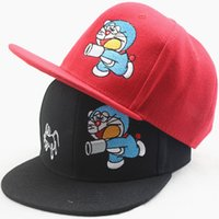 baseball catch - New Children Cartoon Baseball Hat Machine Cat Catch Mice Embroidery Flat Along the Cap Fashion Hiphop Outdoor leisure Cap