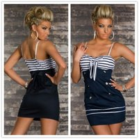 Wholesale Cosplay Sexy Sailors Sea Costumes For Women Navy Stripes Mini Dress with Bow Front Buttons Shoulder Straps SM8836