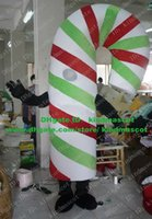 Cheap Lively White Xmas Christmas Candy Cane Walking Stick Crutch Mascot Costume With Thin Arms Short Legs Small Hands No.4722 Free Sh