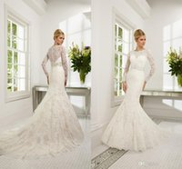 Wholesale 2015 New lace Long Sleeve Dress Scoop Sash wedding Dresses Capped Mermaid Trumpet Gown Court Train Bridal Gowns
