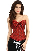 Wholesale Adogirl Sexy Corselet Women Plus Size S XL Satin Embroidered Waist Training Corsets Colors Hot Lingerie Bustier With G String Body Shaper