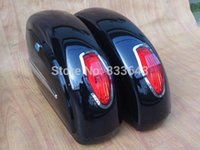 Wholesale new Motorcycle Cruiser Hard Trunk Saddle Bags Trunk Luggage w Lights Mounted black