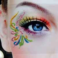 artistic eyeliner - Artistic literature eye mask Lace Face rainbow color flower eyeliner sticker false eyelashes