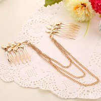Wholesale Headdress trade European and American fashion wild foliage hot comb inserted comb jewelry chain tassel New
