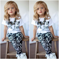 printed shirt tee - Summer I Woke Up Like This Letter Geometry Printing Children Girls Tshirt Pants Sets Kids Tee Shirt Tops Trousrs Outfits Casual C068