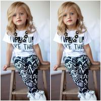 american wake - Summer I Woke Up Like This Letter Geometry Printing Children Girls Tshirt Pants Sets Kids Tee Shirt Tops Trousrs Outfits Casual C068