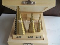 Wholesale 3pcs HSS Titanium Coated mm mm MM Step Cone Drill Bit Industrial Reamer Increment Drilling Tool Set W Wood Case