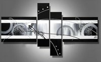 Cheap 4 Panels Wall Art Abstract Modern Silver Oil Hand-painted Painting on Canvas Office Decoration Free Shipping