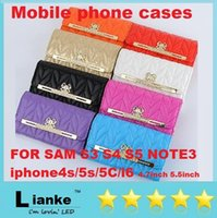 Wholesale Luxury PU Leather Wallet Phone Case Bowknot Flip Case Cover With Card Holder for Samsung Galaxy S3 S4 S5 NOTE3 iphone4s s C i6