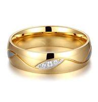 Classique en carbure de tungstène Bague en or 18K anneaux de mariage pour les hommes des femmes de haute qualité CZ Lovers bague en diamant bague de fiançailles de mariage