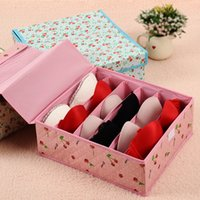 Wholesale Creative household products grid storage box bra box hard cover non woven storage box storage box cherry Rose