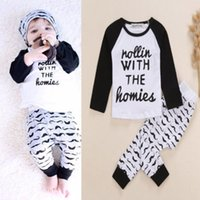 Wholesale 2015 New Baby Infant Kid Boys Bodysuit Clothes Homie Print letter T shirt Moustache Pants Outfits Sets