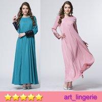 Wholesale 6 Colors Muslim Women Clothes Middle East Nationality Women Linen Dresses Arab Women Robe Muslim Hollow Dresses Long Sleeve Dress