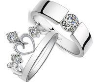 Amantes Princesa corona de plata 925 anillo con anillo de plata de diamante anillo conjunto bague anillo de compromiso regalo de boda para la mujer JE08