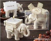 Lo nuevo Elefante afortunado de la Antigüedad-Marfil de la vela y del portatarjetas de favores de la boda y regalos del bebé libre de SHIIPPING