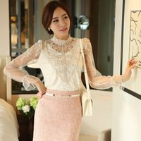 blouse free size - 2015 New Women Lace Shirt Female Floral Crochet Lace Long Sleeve Blouse Lace Mesh Tops Plus Size CB034485