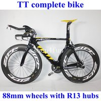 27 - TT complete bike road bike bicycle full carbon fiber black yellow color mm wheels Powerway R13 Hubs different groupset for choice