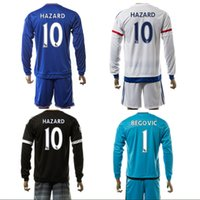 Wholesale 2016 cHeLSeA Soccer Jerseys Long Sleeve Shirts Sets Hazard Costa Pedro Oscar Home Away Football Kits Soccer Uniforms Jersey