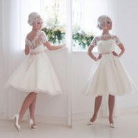 Wholesale 2016 knee length Wedding dresses plus size wedding gown jewel tulle and lace appliques v back short sleeves Bridal dresses