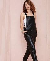 Wholesale Fashion Casual Ninth Pants Romper For Women PU Leather Black Plus Size XXL Jumpsuits Overalls European Style Hot Sale
