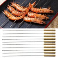Wholesale 10pcs Barbecue Skewer Roast Stick Portable Stainless Steel Needle BBQ Skewer Equipment