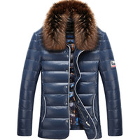 Wholesale Mens Winter Warm Duck Down Fur Collar Leather Coat Jackets Peacoat Slim