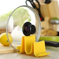 Wholesale Yellow Color PC Wave Style Pan Pot Cover Lid Rack Cellphone Spoon Stand Holder Display Cooking Tools A202