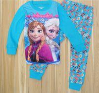 fashion pajamas - Children Pajamas Cartoon Printing Fashion Long Sleeved Boys Girls Sleepwear Frozen Elsa and Anna Cute Soft Breathable Winter Kids Clothing