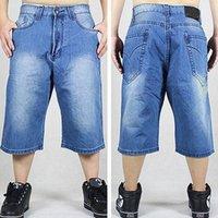 big mens linen pants - Blue jeans baggy short for boy loose pants men hip hop rap skateboard trousers hiphop hip hop dance jeans mens big size