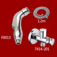 Wholesale ABS Bidet Sprayer Chrome Polishing Supercharging Handheld showerhead with ABS shower holder and m hose F001