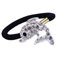 Wholesale Clear crystal dolphin diamond fashion alloy hair ornaments multicolor crystal elastic hair band hair accessory