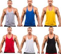Wholesale 1000pcs CCA2746 Men Tank Tops Shirt mens Summer vests Bodybuilding Clothings Fitness Shirt Sports Vests solid color mens training vests