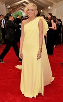 Wholesale 2015 Met Gala Kristen Wiig Ball Celebrity Dress with Court Train One Shoulder A line Backless Evening Gowns Red Carpet Dress Yellow EWL0129