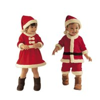 Wholesale New Years Kids Winter sets Boy Coat and Pant Girl Dress Children Santa Suit Novelty Costume Baby Christmas Clothing Sets