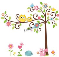 New Owl Écureuil Arbre autocollants démontables de mur mignons pour Kid nurseries Décor animal belle Decal