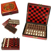 antique chess board - New Pieces Chess A Set of Chess With Wooden Coffee Table Antique Miniature Chess Board Chess Pieces Move Box Set Retro Style