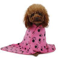 Wholesale Cute Pet Dog Cat Blanket Bed Paw Prints Soft Warm Fleece Mat Bed Cover EC061