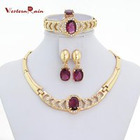 jewelry free shipping - WesternRain Gold Plated Imitation Italian Purple Jewelry Set For Christmas Gift Crystal Necklace A104